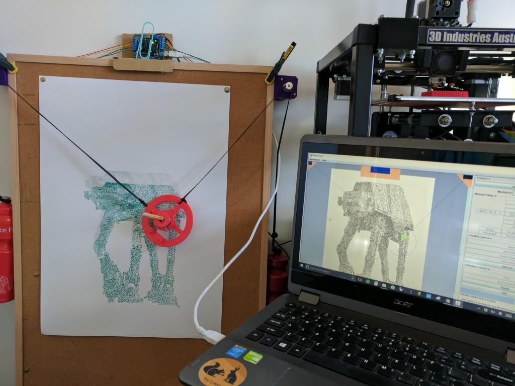 I built a polargraph drawing machine